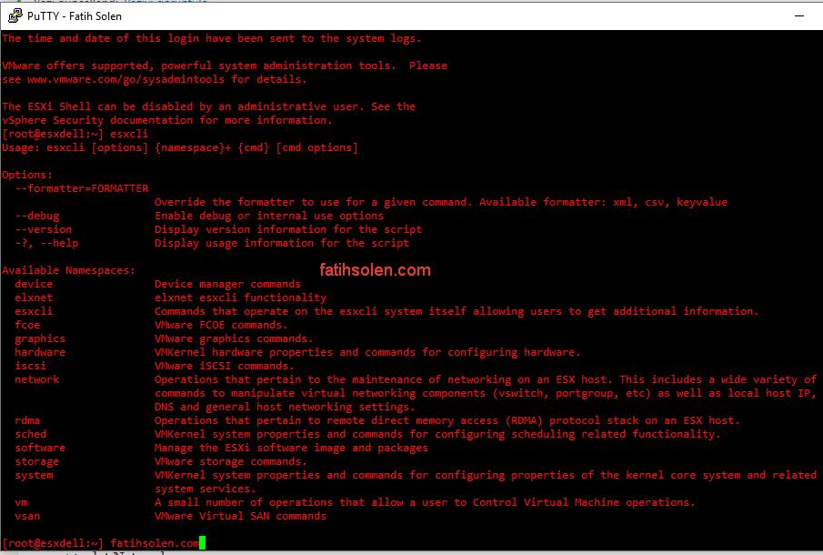 VMware vSphere 6.7 - Yeni esxcli Komutları